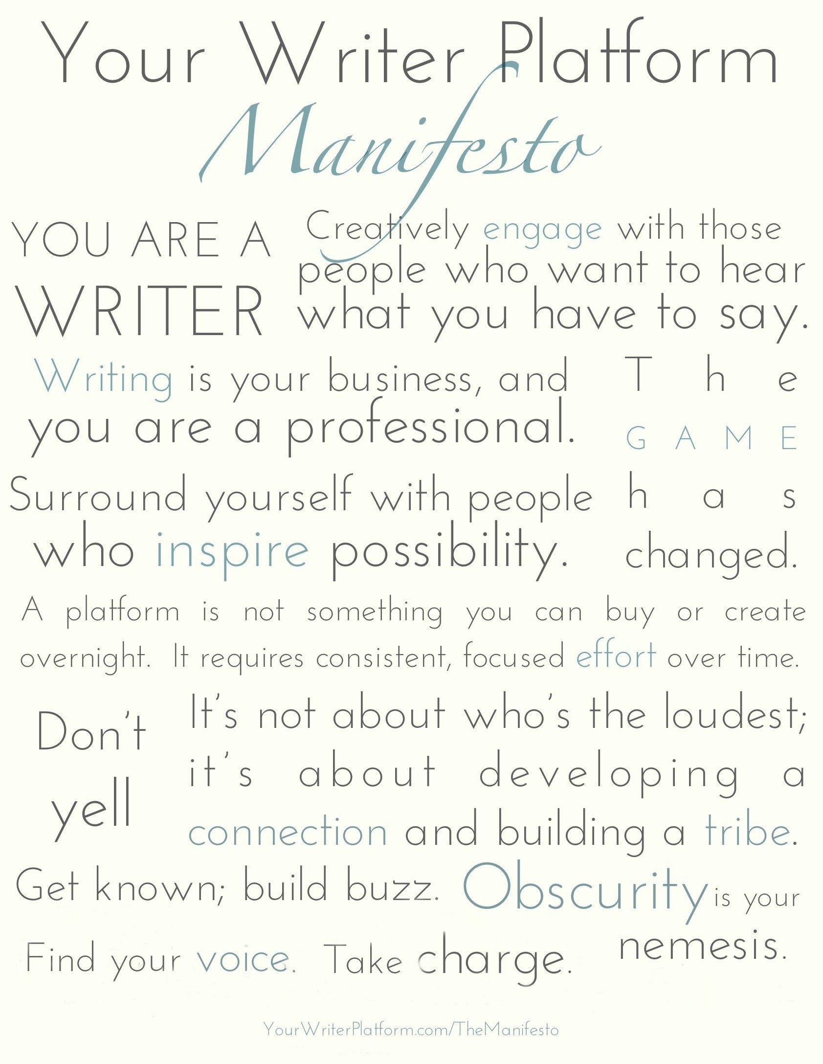 Your Writer Platform Manifesto