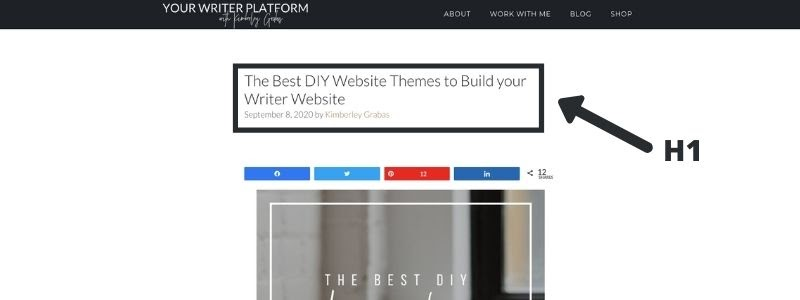 H1 tag example (SEO Strategy for Writers)